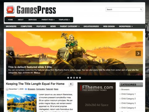 1. GamesPress WordPress Theme
