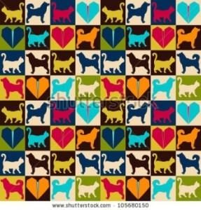 4 Seamless Pattern, Dog and Cat